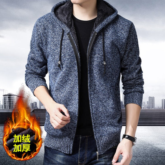 Winter Sweaters Men Cardigan Warm Thick Velvet Cashmere Zipper Mandarin Collar Man Casual Clothes Knitwear Fight color Jacket