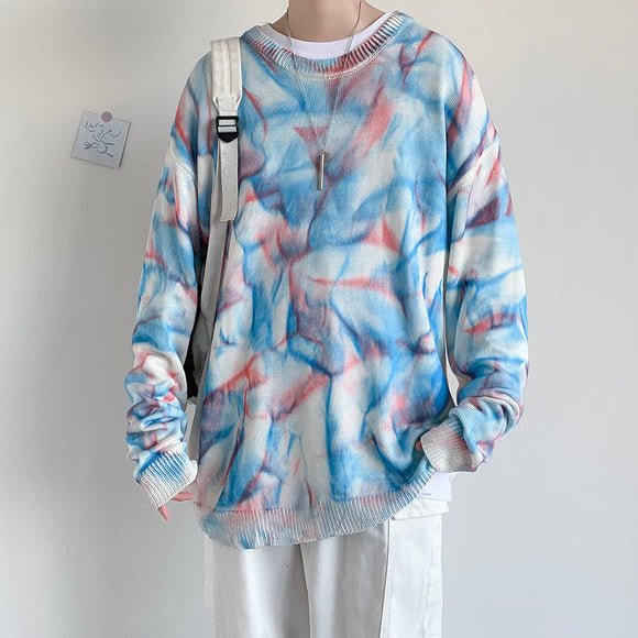 Privathinker Men's Tie-dyed Sweater Loose Chinese Style Man Casual Sweaters Oversize Korean Streetwear Woman Fashion Clothing