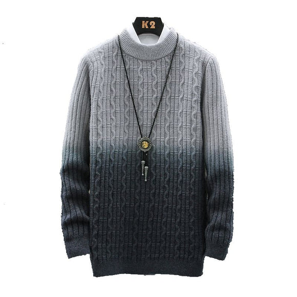Autumn Winter Sweater Men Warm Turtleneck Men Sweater Gradient Knitted Mens Sweaters Double Collar Slim Pullover