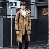 URSPORTTECH 2019 Winter Warm Long Down Jacket Men Casual Clothing Outwear Hooded Down Jackets Male Thick Down Coat Plus Size 5XL