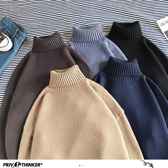 Privathinker Winter Warm Men's Turtleneck Sweaters Solid Color Korean Man Casual Knitter Pullovers 2020 Harajuku Male Sweaters