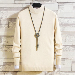 2019 Autumn Casual Men's Sweater O-Neck Solid Color Slim Fit Knittwear Mens Sweaters Pullovers Pullover Men Pull Homme M-3XL