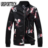 Spring Autumn Floral Jacket Men Korean Slim Fit Bomber Jackets Long Sleeve Streetwear Jackets And Coats Mens Clothes Windbreaker