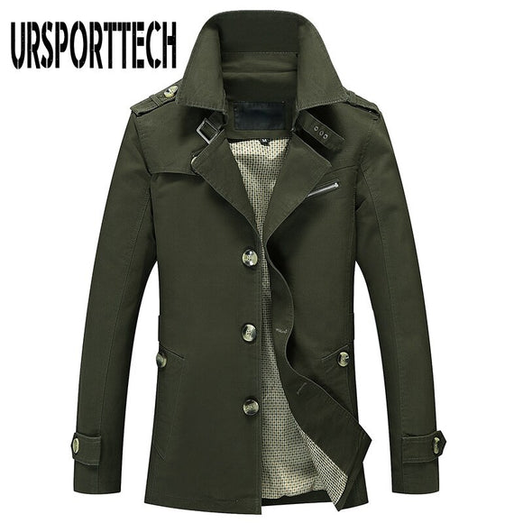 Korean Style Mens Long Jackets Spring Uniform Military Jacket Men Coat Autumn Male Casual Slim Cotton Windbreakers Trench Coats