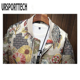 URSPORTTECH New Autumn Winter Casual Jacket Men Coat Japanese Embroidery Slim Fit Bomber Jacket Male Windbreaker Men Coats M-5XL