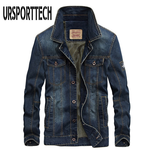 URSPORTTECH Denim Jackets Men Coat Dark Blue Casual Teens Denim Jacket Cotton Turn-down Collar Long Sleeve Denim Bomber Jackets