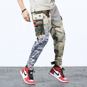 Harajuku Patchwork Cargo Pants Men's Hip Hop Streetwear Jogger Pant Elastic Waist Casual Camouflage Track Trousers 2019