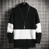 New Men's Knit Long Sleeve Regular Sweater for Men Winter Half high collar Patchwork Pullovers Bottoming Jumper