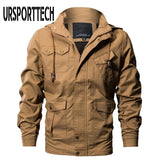 URSPORTTECH Brand Spring Autumn Men Jacket Multi-pocket Military Bomber Jacket Man Casual Cotton Water-washed Jackets And Coats