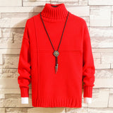 Mens Knitted Cashmere Wool Sweaters Double collar Autumn Winter New Pullover Men Casual O-Neck Jumper Sweater Men Pull Homme