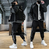 Mens Cargo Pullover Streetwear Hooded Tracksuit 2 Pieces Sets Jackets And Cargo Pants Loose Fit Pants Hip Hop jacket