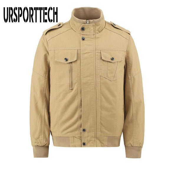 URSPORTTECH Men Jacket Spring Autumn Fashion Slim Fit Solid Mens Bomber Jackets Stand Collar Mens Outwear Coats Casual Plus Size