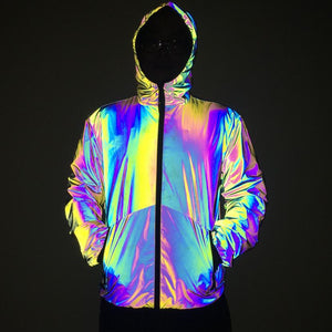Autumn Winter 2020 New Night Colorful Hooded Reflective Jacket Men Casual Windbreaker Man Hip Hop Jackets and Coats DropShipping