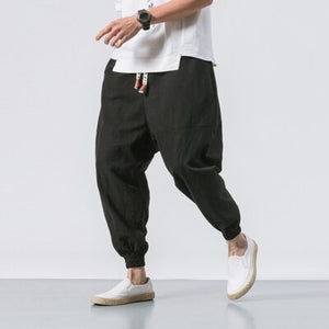 Harem Pants Men Summer thin Elastic Waist Pants Trousers Mens Casual Joggers Sweatpants Male Chinese Traditional Harajuku
