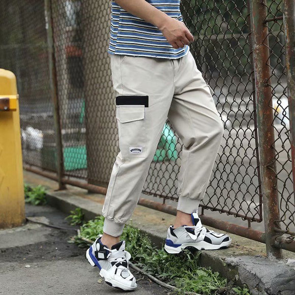 Men New Side Pockets Pencil Pants Joggers Vogue man Casaul long Pants Ankle-Tied Cargo Pants Sportswear daily wear Harem Pants