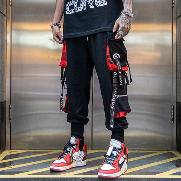 Men Hip Hop Black Cargo Pants joggers Sweatpants Overalls Men Ribbons Streetwear Harem Pants Fashions Trousers