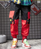 Men black red patchwork hip hop cargo pants man Japan style multi pockets sweatpants joggers