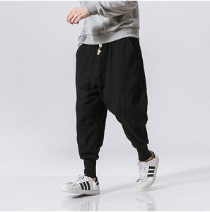 Men Harem Pants Japanese Casual Cotton Linen Trouser Man Jogger Pants Chinese Baggy Pants