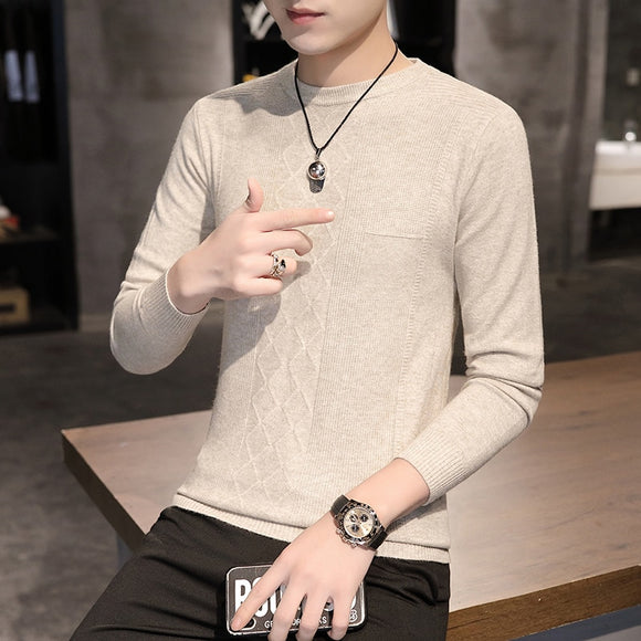 Men Round neck Sweater Autumn Winter Solid Color Casual Sweater Men's Slim Fit Knitted Pullovers Bottoming Jumper
