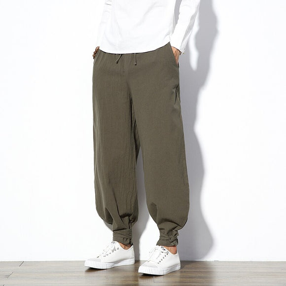 2020 Chinese Traditional Cotton Men's Jogger Harem Pants Streetwear Full Length Pencil Pants Men Sweatpants Fitness Jogger Pants