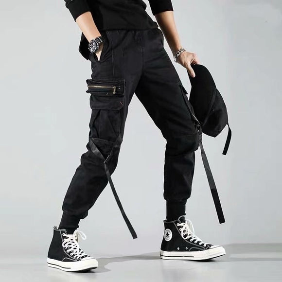 Harajuku Streetwear Joggers Pants Men Fashion Autumn Pencil Pants Hip Hop Elastic Waist Ribbon Trousers Male
