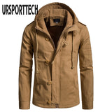 URSPORTTECH Quality Men's Jackets Spring Autumn 2020 New Hooded Cotton Jacket European Size Male Cardigan Jackets Coats Outwear