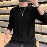 Sweater Men Spring Autumn  O-neck  Pull Homme Soft Knitwear  Wool Pullover Men Pure Color Mens Sweaters
