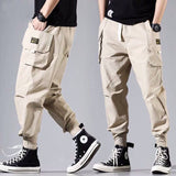 Loose Fit Elastic Waist Cargo Pants Street Ankle Banded Pants Large Pockets Casual Pants Fashion Cargo Pants