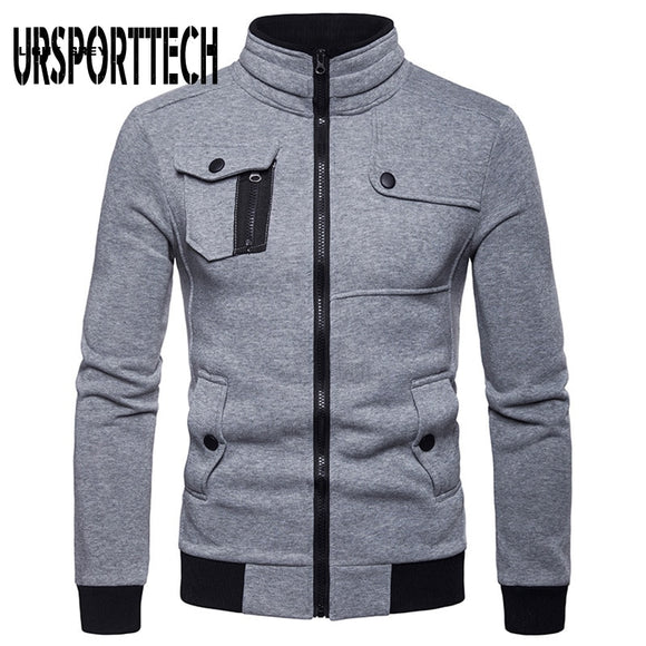 URSPORTTECH Spring Autumn Jacket Men 2020 New Fashion Stand Collar Zipper Cotton Tactical Jackets Casaco Masculino Casual Hiphop