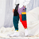 Hip Hip Streetwear Men's Color Block Joggers Pants 2019 Men Corduroy Pant Trousers Elastic Waist Harem Patchwork Pant Men HA037