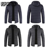 URSPORTTECH Hooded Down Jacket Men 2020 Winter Zipper Casual Down Coats Male Fashion Slim Fit Parkas Mens Cotton Jackets Outwear