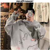 Privathinker2020 Autumn Winter Men Pullover Casual Sweaters Male Knitted Korean Sweater Carton Print Mens Fashion New Clothes