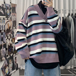 Neploha New Stripe Winter Thick Sweater Man V-Neck Knitted Ribbed Pullovers Sweater Long Sleeve Casual Warm Soft Clothing