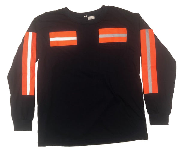 Low Pro Reflective Long Sleeve Shirt, Navy/Orange