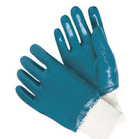 RADNOR® Large Blue Nitrile Full Coated Work Gloves With Natural Jersey Liner And Knit Wrist