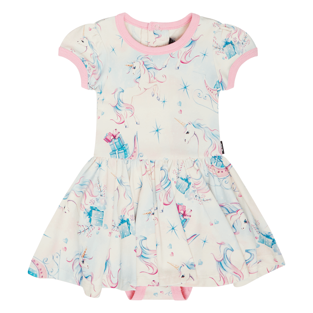 UNICORN CHRISTMAS BABY WAISTED DRESS