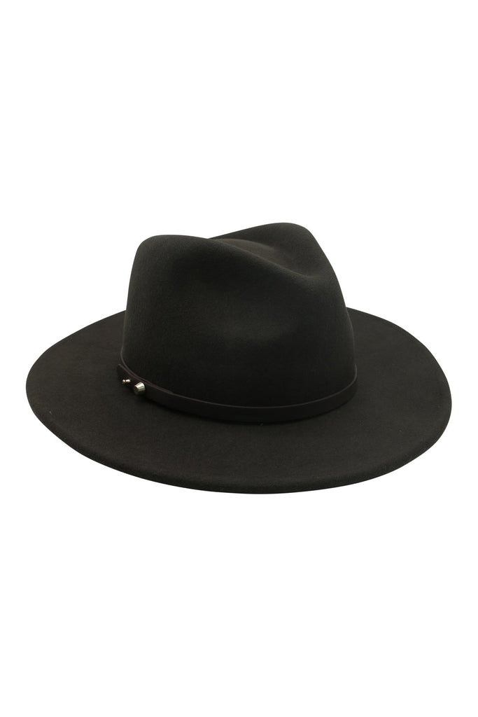 KHAKI FELT FEDORA WITH PU BAND