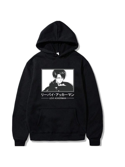 Manga Attack on Titan Black Levi Ackerman Printed Hoodie