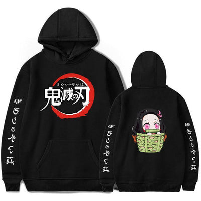Demon Slayer Nezuko Black Printed Hoodies