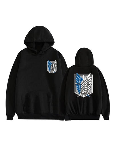 Manga Anime Attack on Titan Black Scouting Legion Symbol Printed Hoodie