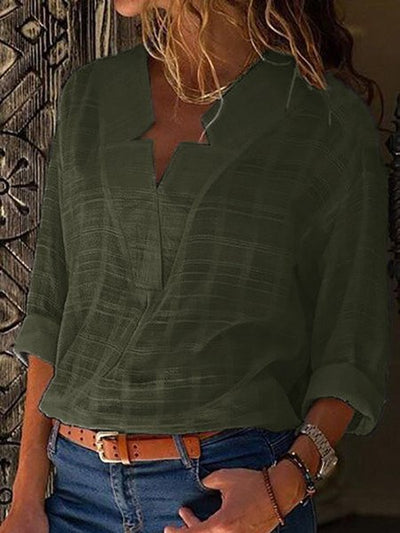 Casual Sexy V Neck Pure Color Blouses-Tops-Blouses & Shirts
