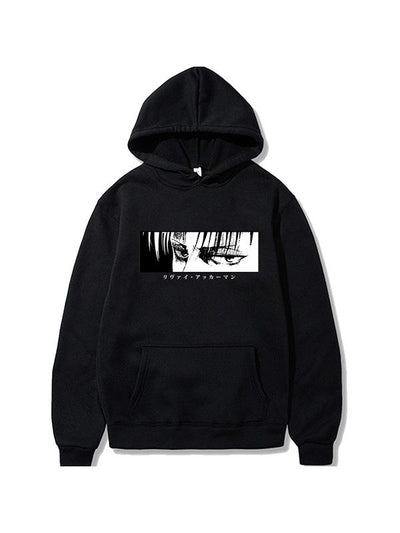 Manga Attack On Titan Hoodies Levi Ackerman Black Printed Hoodie