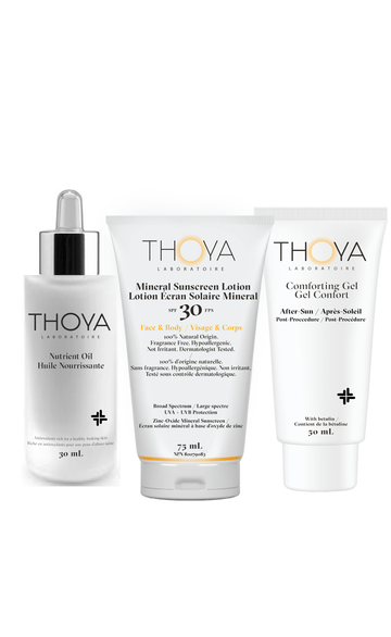 Thoya Laboratoire All natural  Sun Care Essentials include   Everything you need to moisturize, protect and maintain healthy looking skin during and between sun exposures.