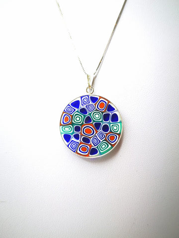 6 COLORS. Silver necklace with murrina pendant. (3 CM)
