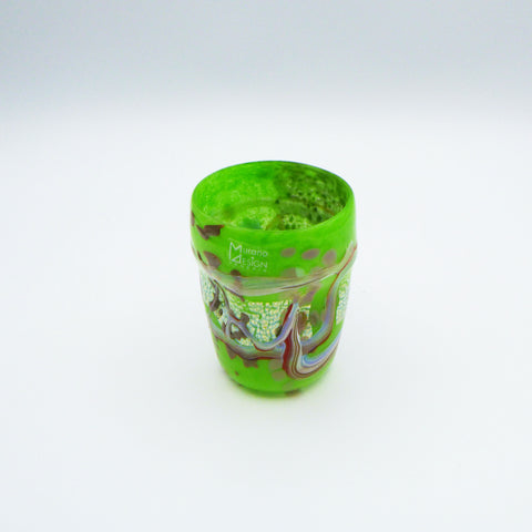 Glass in Murano glass. Sketch collection. Green colour. 11 cm.