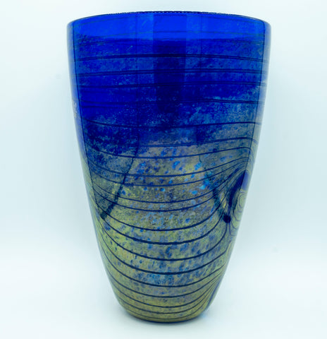 Blue blown Murano glass vase with gold inclusions.