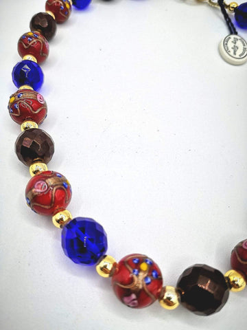 Necklace with Murano beads. Red, Blue, Bronze.