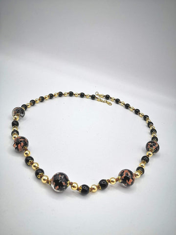 Necklace with Murano beads. Gold on Black and Aventurine glass