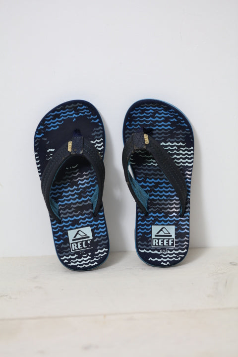 Reef Kids Ahi Jongens Slippers - Blue Horizon Wave | Maat 28/29