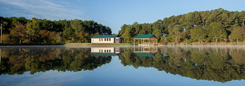 On-farm cabin available for rental that is situated on a pond